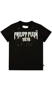 Черная футболка Philipp Plein с брызгами краски, фото