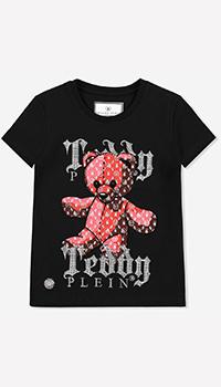 Детская футболка Philipp Plein с принтом и стразами, фото