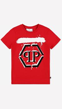 Детская футболка Philipp Plein с брендовым принтом, фото