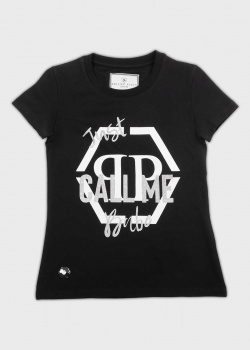 Черная футболка Philipp Plein для детей, фото