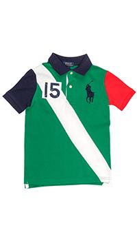 Зеленая футболка поло Polo Ralph Lauren с номером 15, фото