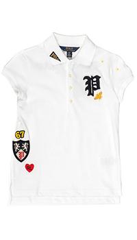 Белая футболка-поло Polo Ralph Lauren с нашивками, фото