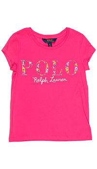 Розовая футболка Polo Ralph Lauren детская с принтом, фото