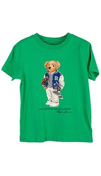 Зеленая футболка Polo Ralph Lauren с принтом в виде медвежонка, фото