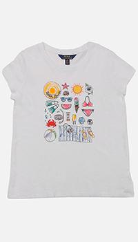 Белая футболка Polo Ralph Lauren детская с принтом, фото