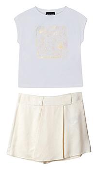 Белый костюм с юбкой Emporio Armani для девочки, фото
