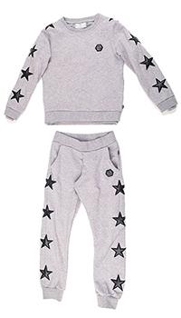 Серый костюм Philipp Plein Stars с декором-звездами, фото