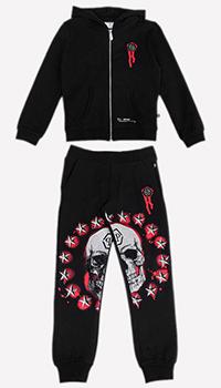 Спортивный костюм для детей Philipp Plein черного цвета, фото