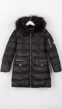 Длинная куртка Elsy черного цвета для девочки, фото