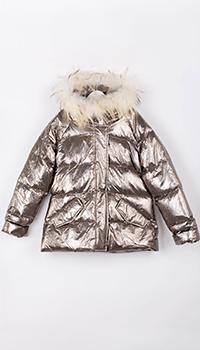 Серебристая куртка Elsy с капюшоном для девочки, фото