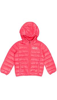 Розовая стеганая куртка Emporio Armani с капюшоном, фото