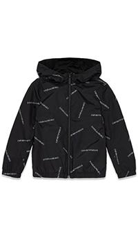 Двусторонняя куртка Emporio Armani с брендовой надписью, фото