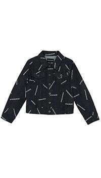 Детская джинсовая куртка Emporio Armani с логотипами, фото