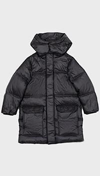 Черная детская куртка Emporio Armani с горизонтальной стежкой, фото
