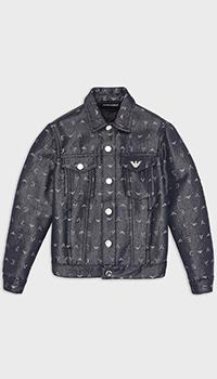 Детская джинсовая куртка Emporio Armani темно-синего цвета, фото