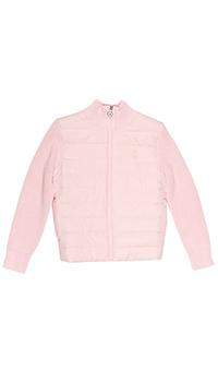 Детская розовая куртка Polo Ralph Lauren с вязанными рукавами, фото