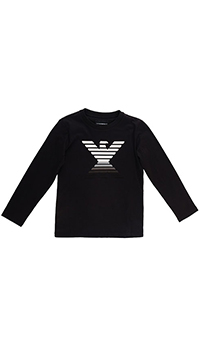 Черный джемпер Emporio Armani с зеркальным логотипом, фото