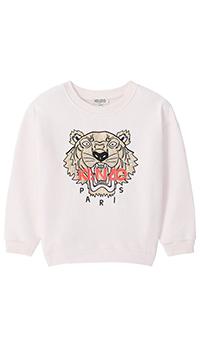 Розовый свитшот Kenzo с брендовой вышивкой, фото