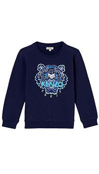 Синий свитшот Kenzo с вышивкой-тигр, фото