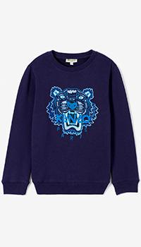 Синий свитшот Kenzo с тигром для детей, фото