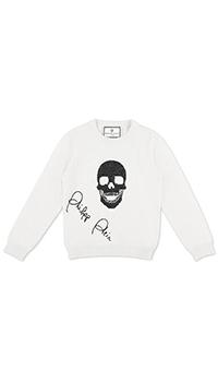 Белый джемпер Philipp Plein Skull со стразовым принтом, фото