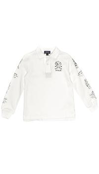 Белое поло Polo Ralph Lauren с длинным рукавом, фото