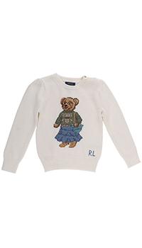 Джемпер с принтом Polo Ralph Lauren Polo Bear из хлопка кремового цвета, фото