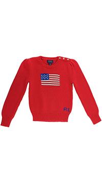 Вязаный джемпер Polo Ralph Lauren с американским флагом, фото