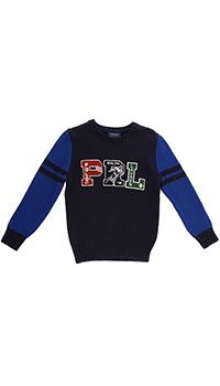Хлопковый джемпер Polo Ralph Lauren темно-синего цвета, фото