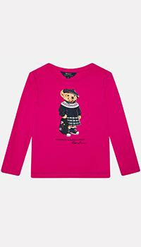 Свитшот для детей Polo Ralph Lauren розового цвета, фото