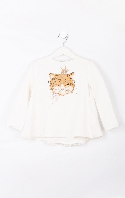 Белая кофта для девочки Elsy с рисунком леопарда