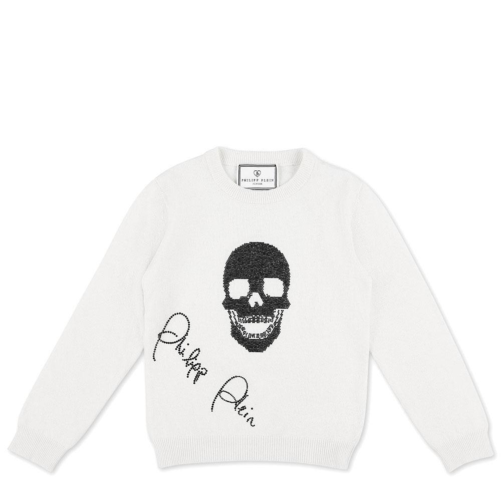 Белый джемпер Philipp Plein Skull со стразовым принтом