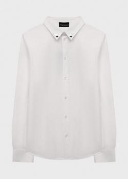 Белая детская рубашка Emporio Armani с логотипом, фото