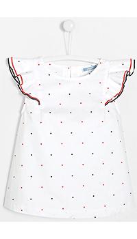 Белая блуза в горошек Jacadi для девочек, фото