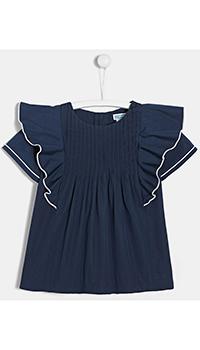 Блуза для девочек Jacadi темно-синего цвета с рюшами, фото