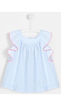 Голубая блуза с воланами Jacadi для девочек, фото