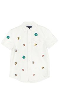 Белая рубашка Polo Ralph Lauren с коротким рукавом, фото