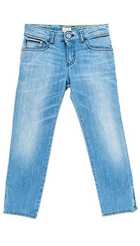 Прямые джинсы голубого цвета с полосками на карманах, фото