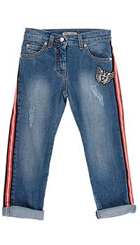 Детские джинсы Ermanno Scervino с лампасами синего цвета, фото