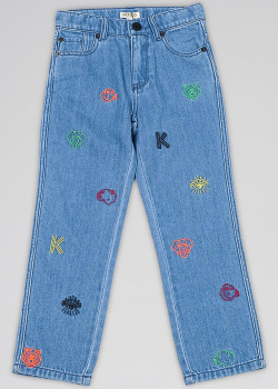 Детские джинсы Kenzo с брендовой вышивкой, фото