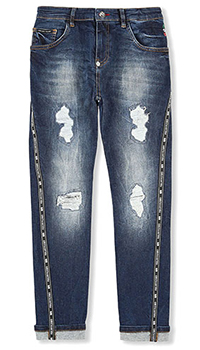 Темно-синие джинсы Philipp Plein с потертостями, фото