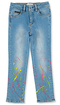 Детские джинсы Philipp Plein с брызгами краски, фото