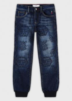 Детские джинсы Philipp Plein с манжетами, фото