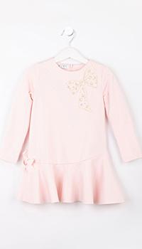 Розовое детское платье Elsy с бантом, фото