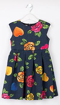 Детское синее платье Elsy с цветочным принтом, фото