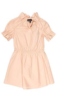 Персиковое платье Emporio Armani из хлопка с коротким рукавом, фото
