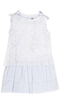 Кружевное платье Ermanno Scervino белого цвета в полоску, фото