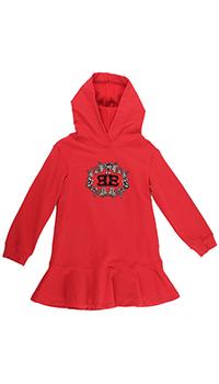 Детское платье Ermanno Scervino с лого красного цвета, фото