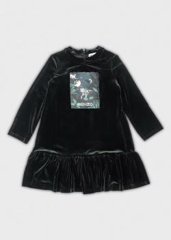 Велюровое зеленое платье Kenzo для девочек, фото