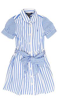 Белое платье Polo Ralph Lauren в синюю полоску, фото